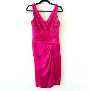 TADASHI Pink Pleated Gathered Front V-neck Dress